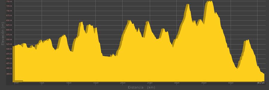 101 KM PEREGRINOS, modalidad Maratón 48 Km: Perfil de la prueba